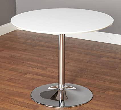 Super This Minimalist Dining Table Has A Compact Modern Design With A White Round Laminated Table Top And Chrome Base Seats 4 6 People Fits Perfect In Home Remodeling Inspirations Genioncuboardxyz