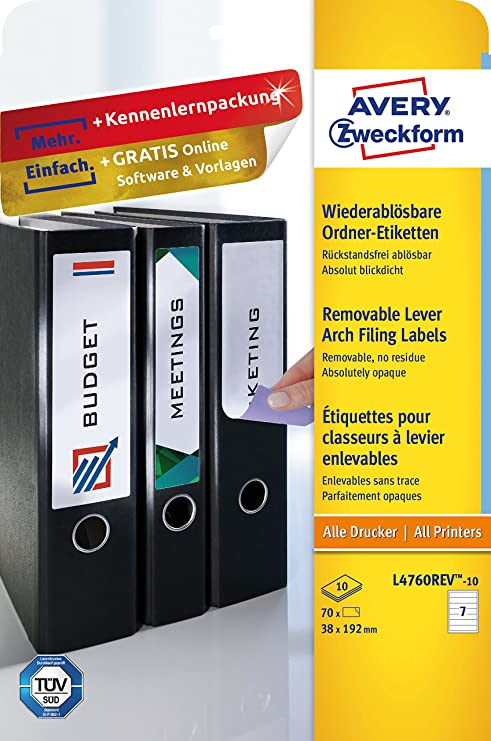 Avery Zweckform l4760rev de 20 etiquetas de carpetas (A4, 140 unidades, despegable,