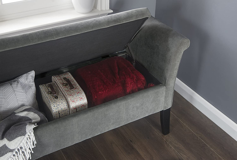 Balmoral Window Seat - Grey Chenille Fabric - Blanket Box Storage Ottoman … GFW limited
