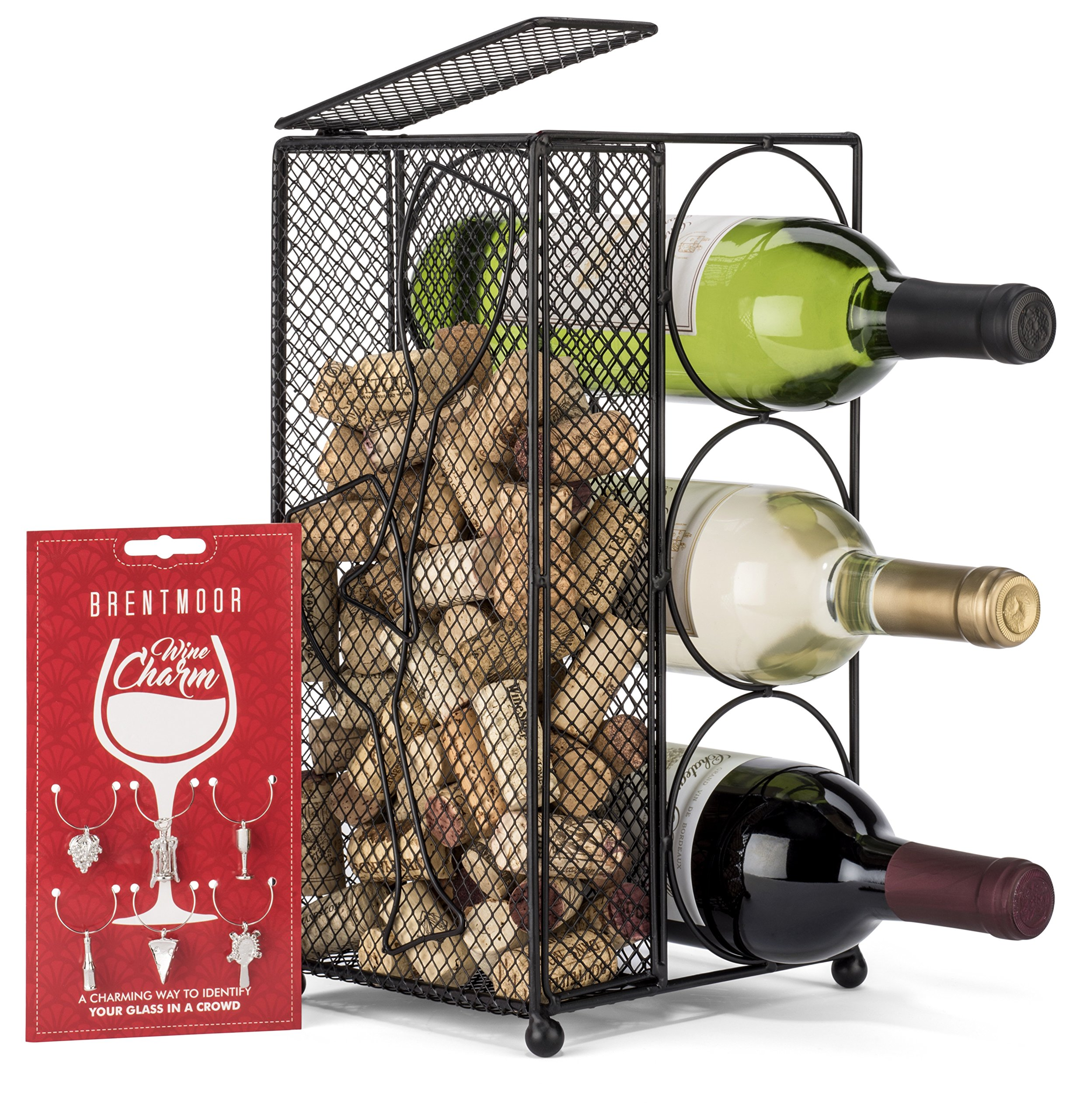 Brentmoor - 3 Bottle - Wine Rack/Cork Holder - Black - Complete w/Wine Charms