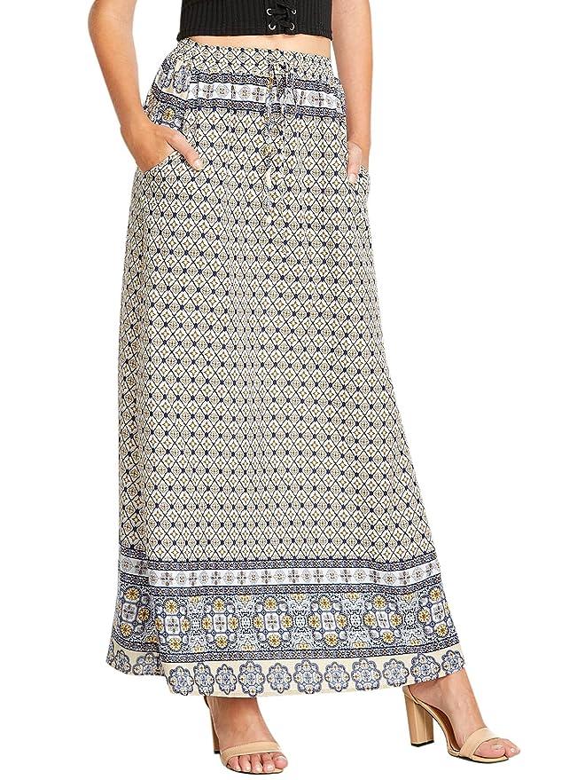 Milumia Women's Boho Vintage Print Pockets A Line Maxi Skirt X-Large Multicolor-1