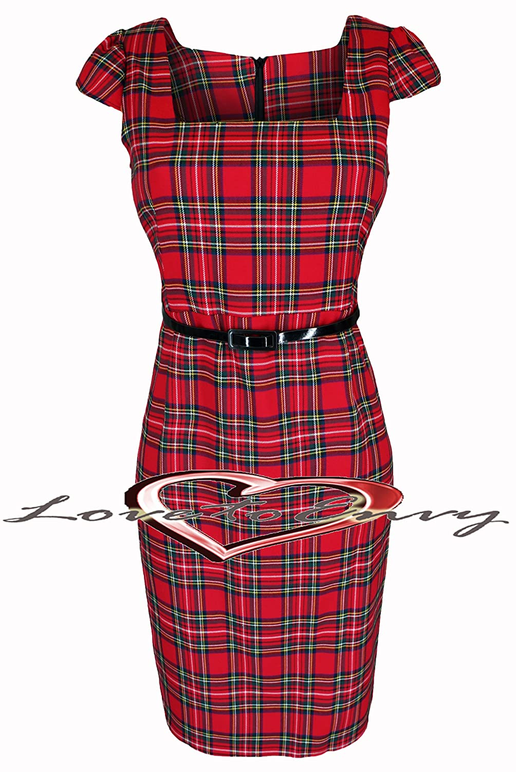 Lovetoenvy Tartan Dress Ladies New Elegant RED Check Dress (16 ...