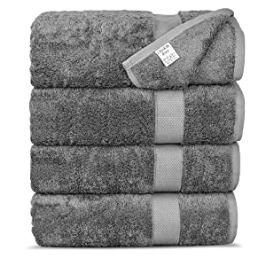 Chakir Turkish Linens Luxury Ultra Soft Bamboo 4-Piece Set, Bath Towels, Gray
