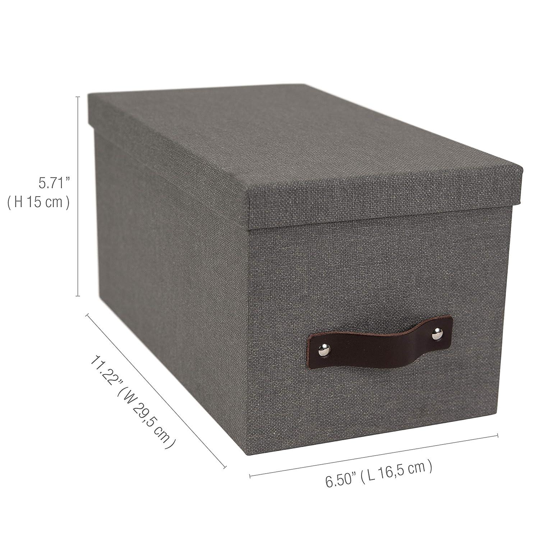5.9 x 6.5 x 11.6 in Dark Brown Bigso Silvia Canvas Fiberboard Organizational Storage Box