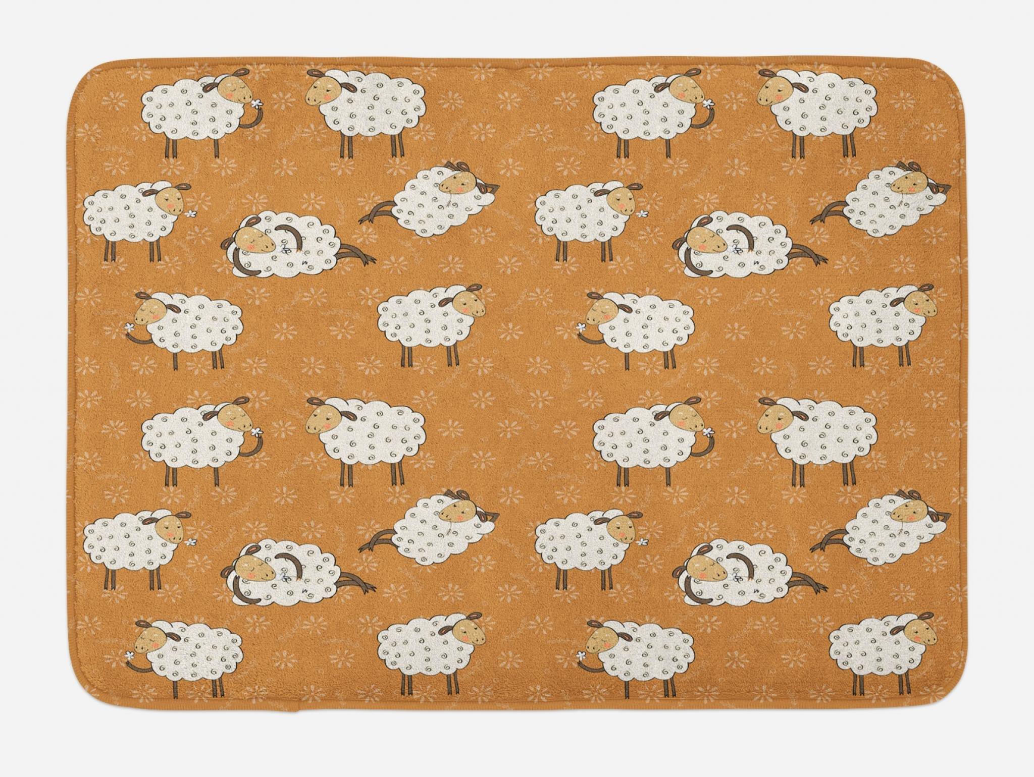 Lunarable Sheep Bath Mat, Farmland Cartoon Design Nursery Animal Lover Theme on Amber Flowers Background, Plush Bathroom Decor Mat with Non Slip Backing, 29.5 W X 17.5 W Inches, Amber Off White by Lunarable (Image #1)