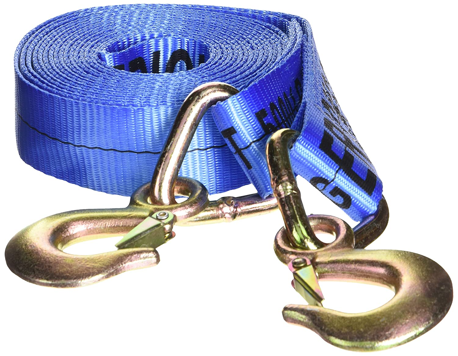 Erickson 09301 2-Inch x 20-Inch Tow Strap with Forged Safety Snap Hook Blue