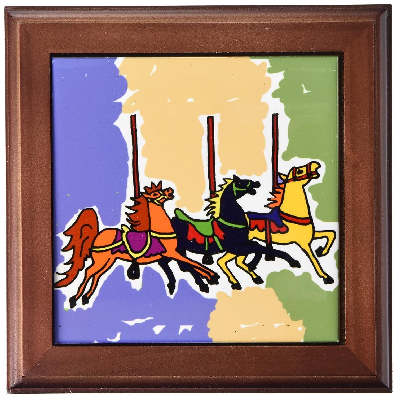 Amazon.com: 3dRose ft_200561_1 Fun Colorful Carousel Horses Folk Art ...