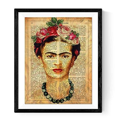 Nacnic Lámina Frida Kahlo con la definición de Creatividad y con Fondo marrón. Tamaño A3. Sin Marco