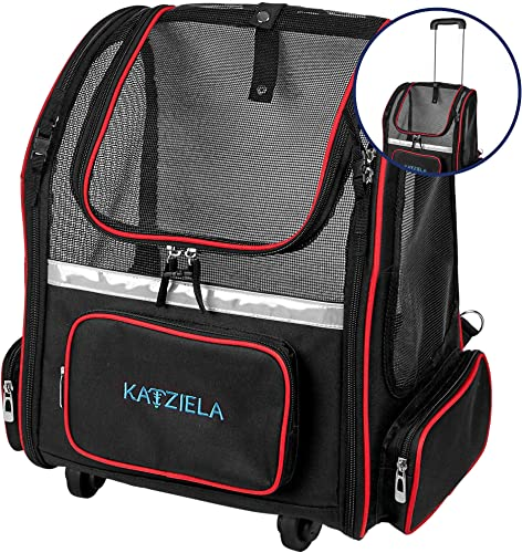 Katziela Wheeled Pet Carrier Backpack – Soft Sided, Airline Approved Hiking Carrying Bag for Small Dogs and Cats Removable Rolling Wheels Mesh Ventilation Windows, Storage Pockets
