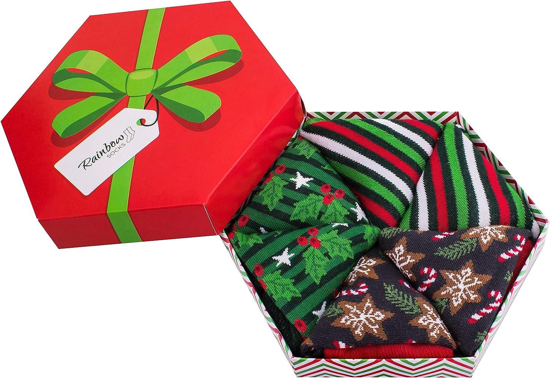 Rainbow Socks - Hombre Mujer Calcetines de Navidad Para Regalo - 3 Pares: Amazon.es: Ropa y accesorios