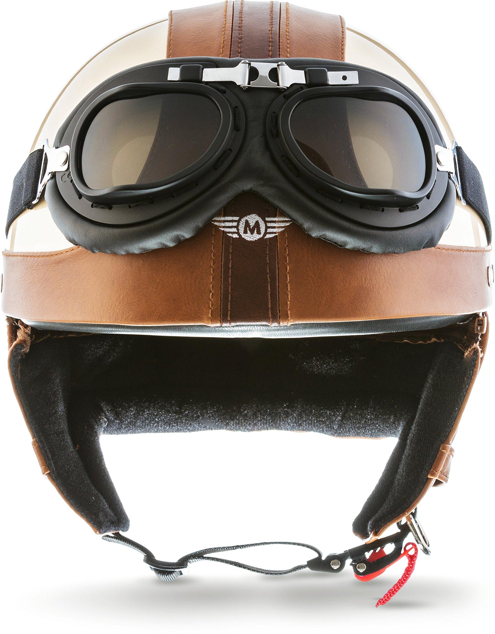 biker MOTO HELMETS D22-LEATHER roller vintage chopper casco de moto scooter cruiser BRAINCAP casco de vespa retro incluye funda de tela medio casco bobber Casco de acero