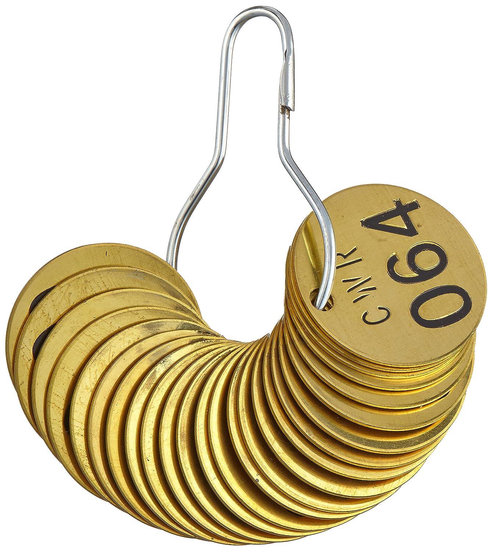 Numbers 051-075 25 per Package Brady 871021 1//2 Diameter Stamped Brass Valve Tags LegendCWR