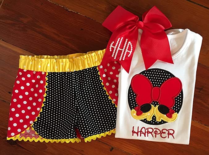 Amazon personalized minnie mouse applique top and shorts