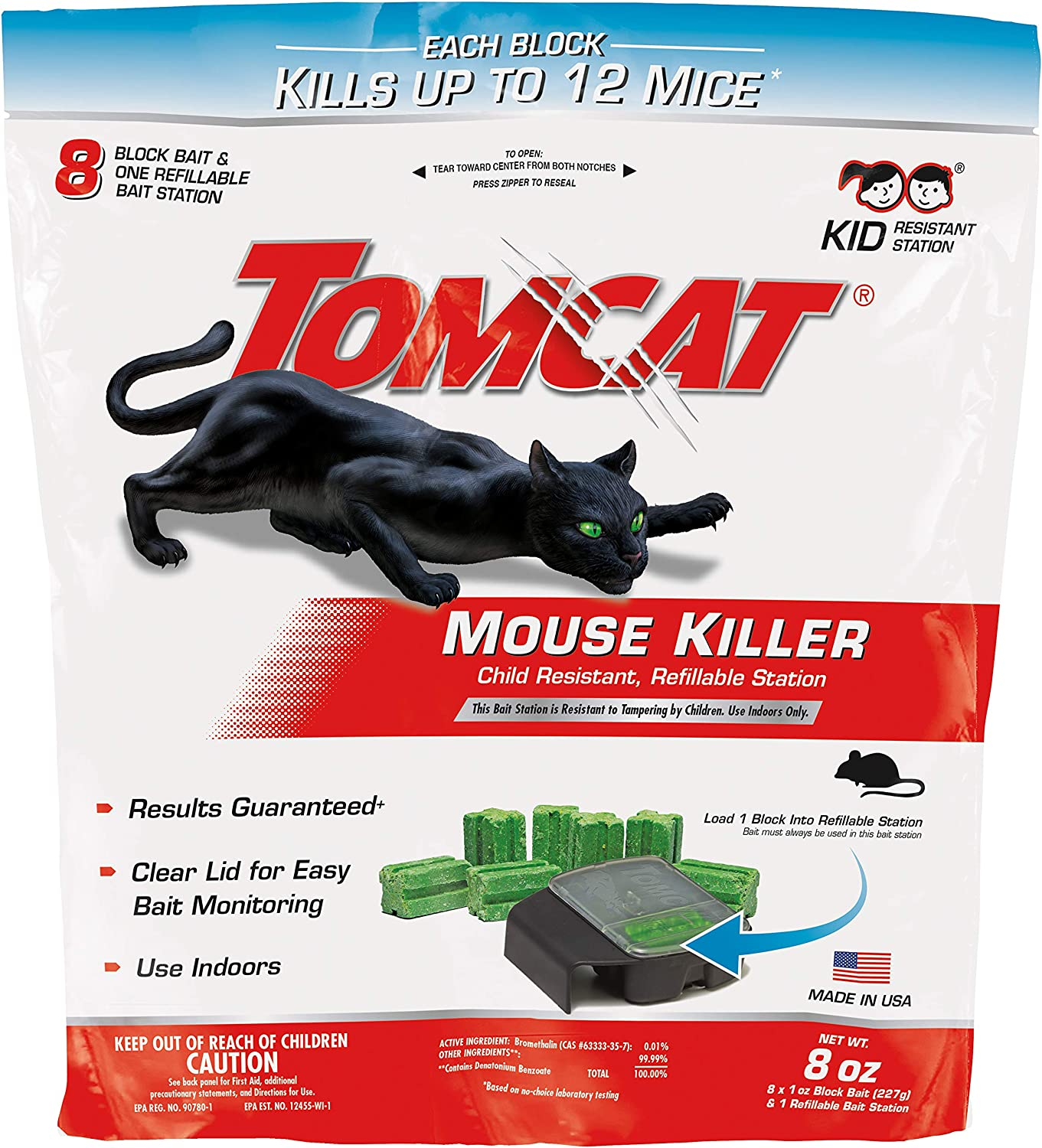 Tomcat Mouse Killer Refillable Bait Station for Indoor Use - Child Resistant, 1 Station with 8 Baits (Bag)