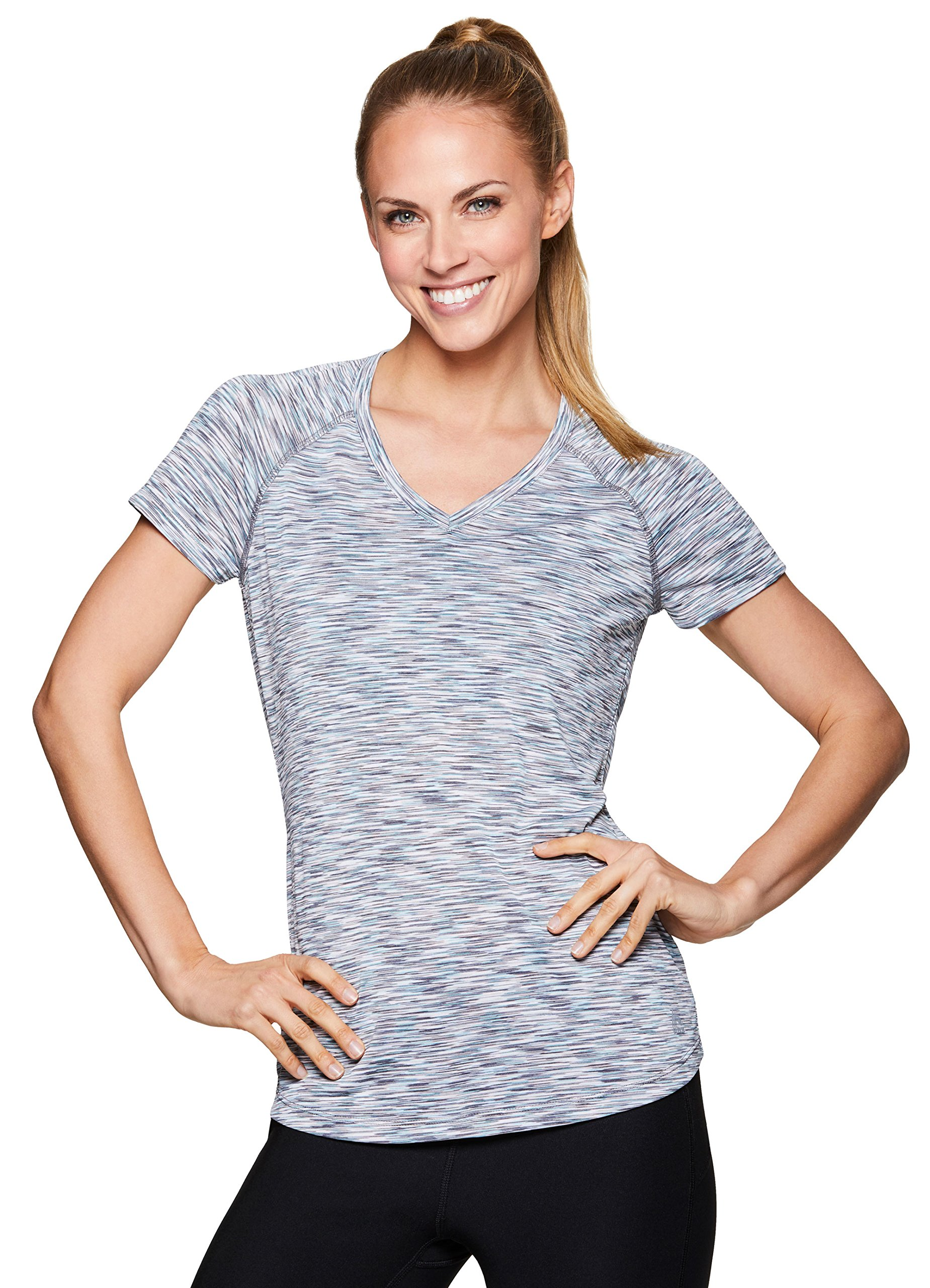 RBX Active Women's Short Sleeve Yoga Workout Shirt Spring Blue L