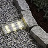 "8"" Warm White Solar Brick with 6 LEDs, Frosted Glass, Rectangular Shape, Rechargeable Battery Included"