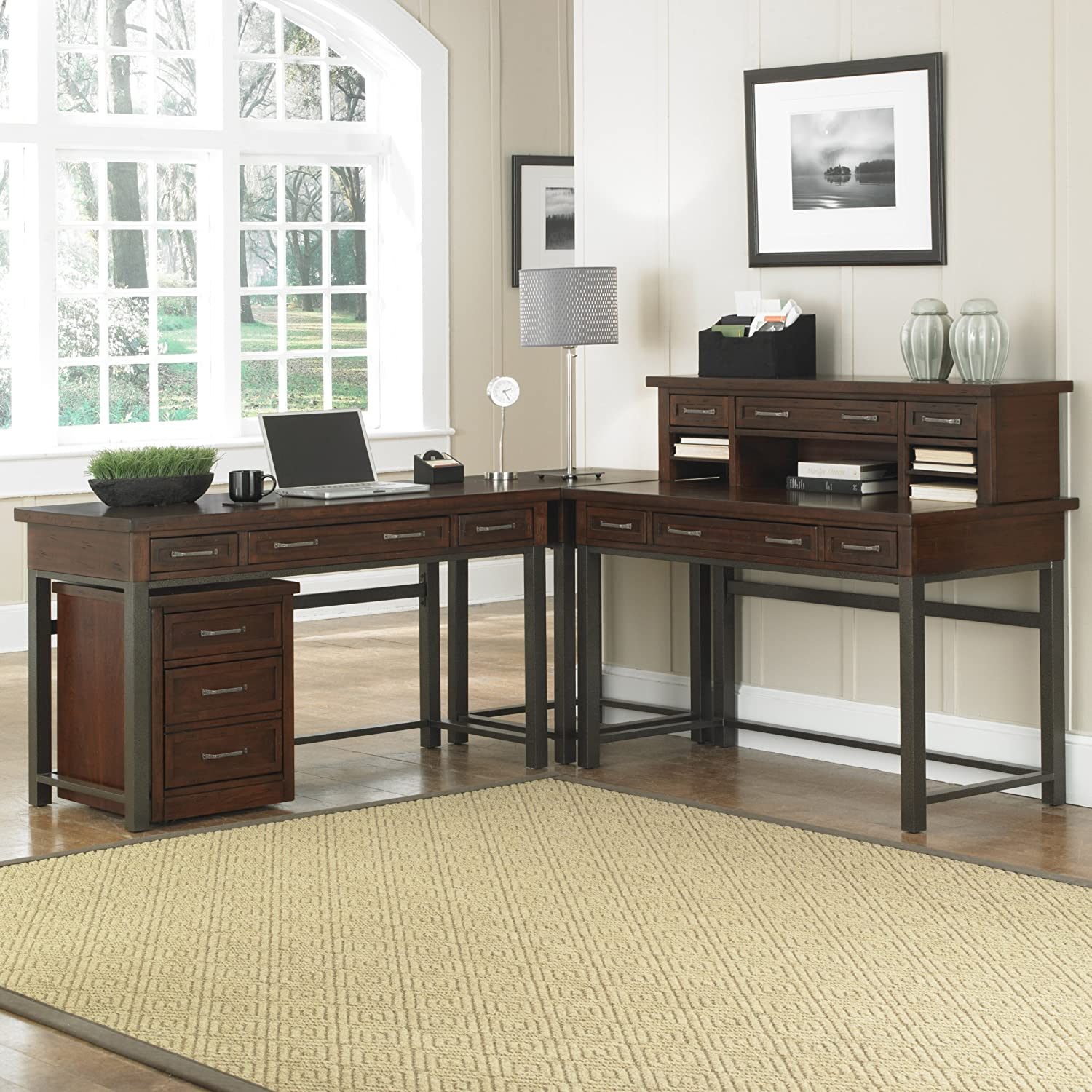 cabin office furniture. Amazon.com: Home Styles Cabin Creek Corner L Desk And Mobile File: Kitchen \u0026 Dining Office Furniture