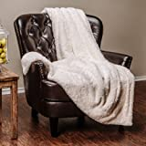 Chanasya Super Soft Fuzzy Fur Faux Fur Cozy Warm Fluffy Beautiful Geometric Pattern Plush Sherpa White
