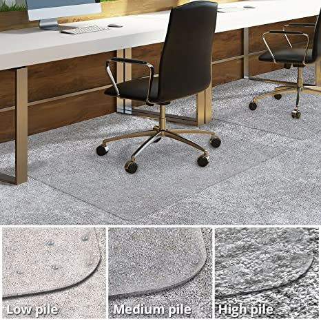 Office Chair Mat For Carpeted Floors | Desk Chair Mat For Carpet | Clear  PVC Mat