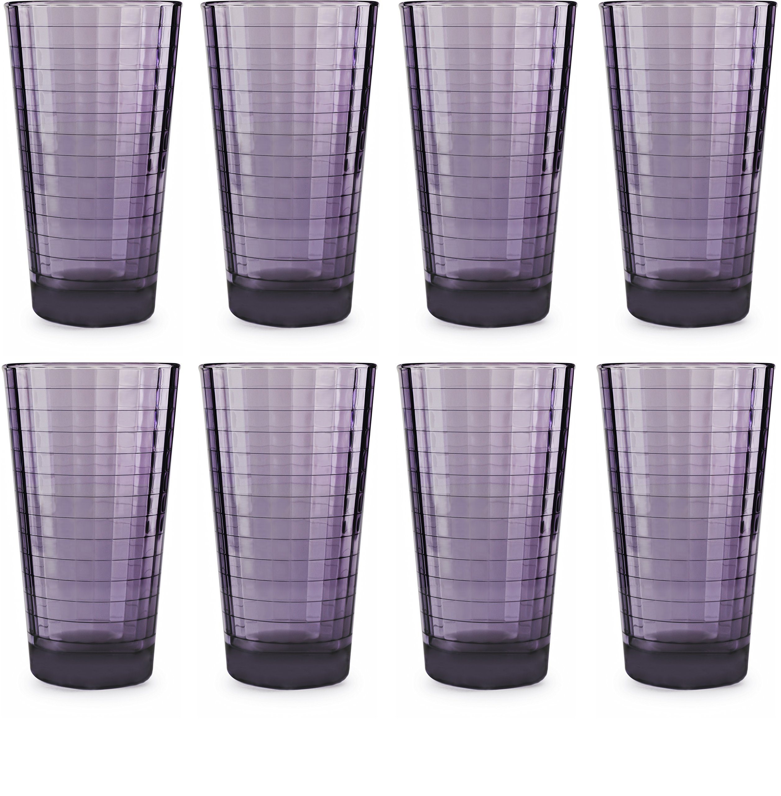 Circleware 44824 Windowpane Plum Beverage Drinking Glasses, Set of 8, 17 Ounce