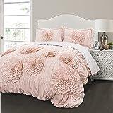 Lush Decor 16T000398 3 Piece Serena Comforter Set, Full/Queen, Pink Blush