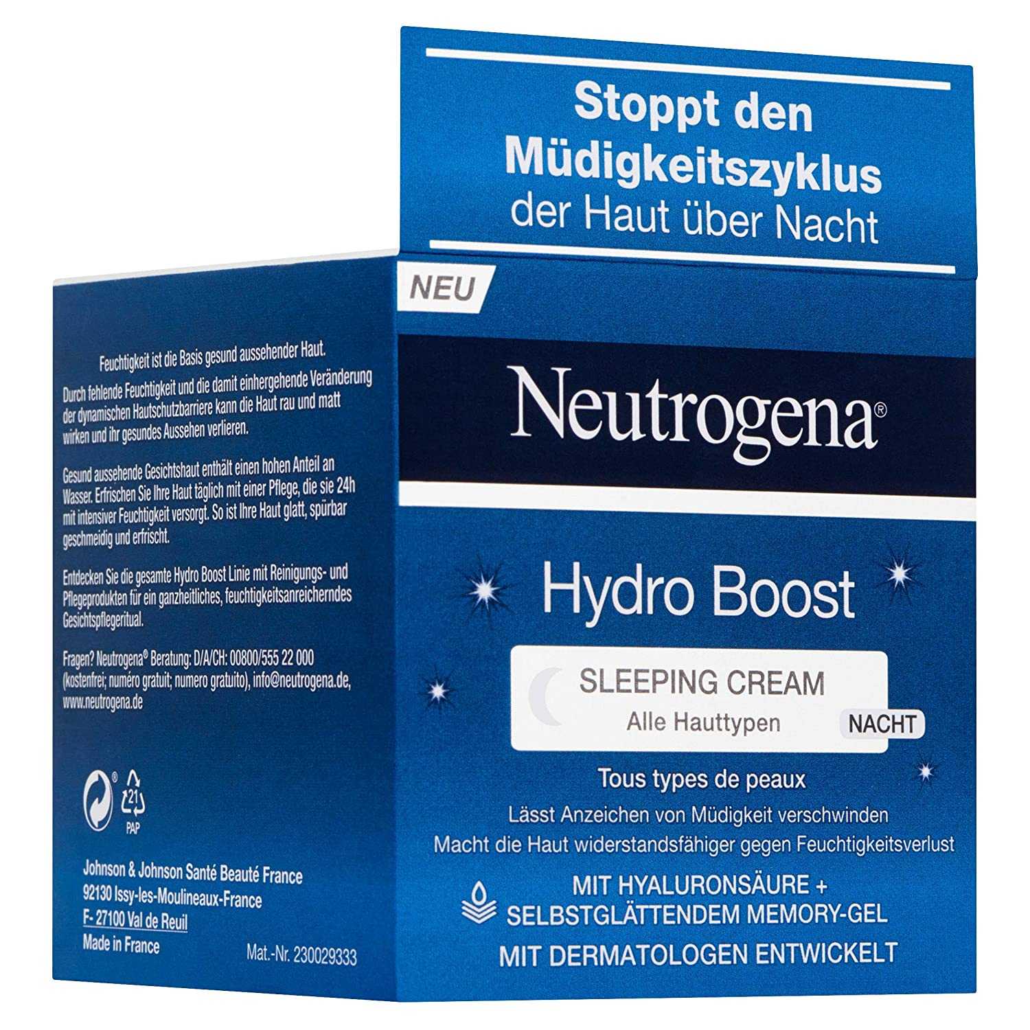 Neutrogena Hydro Boost Sleeping Cream, 1er Pack (1 x 50 ml): Amazon.es: Belleza
