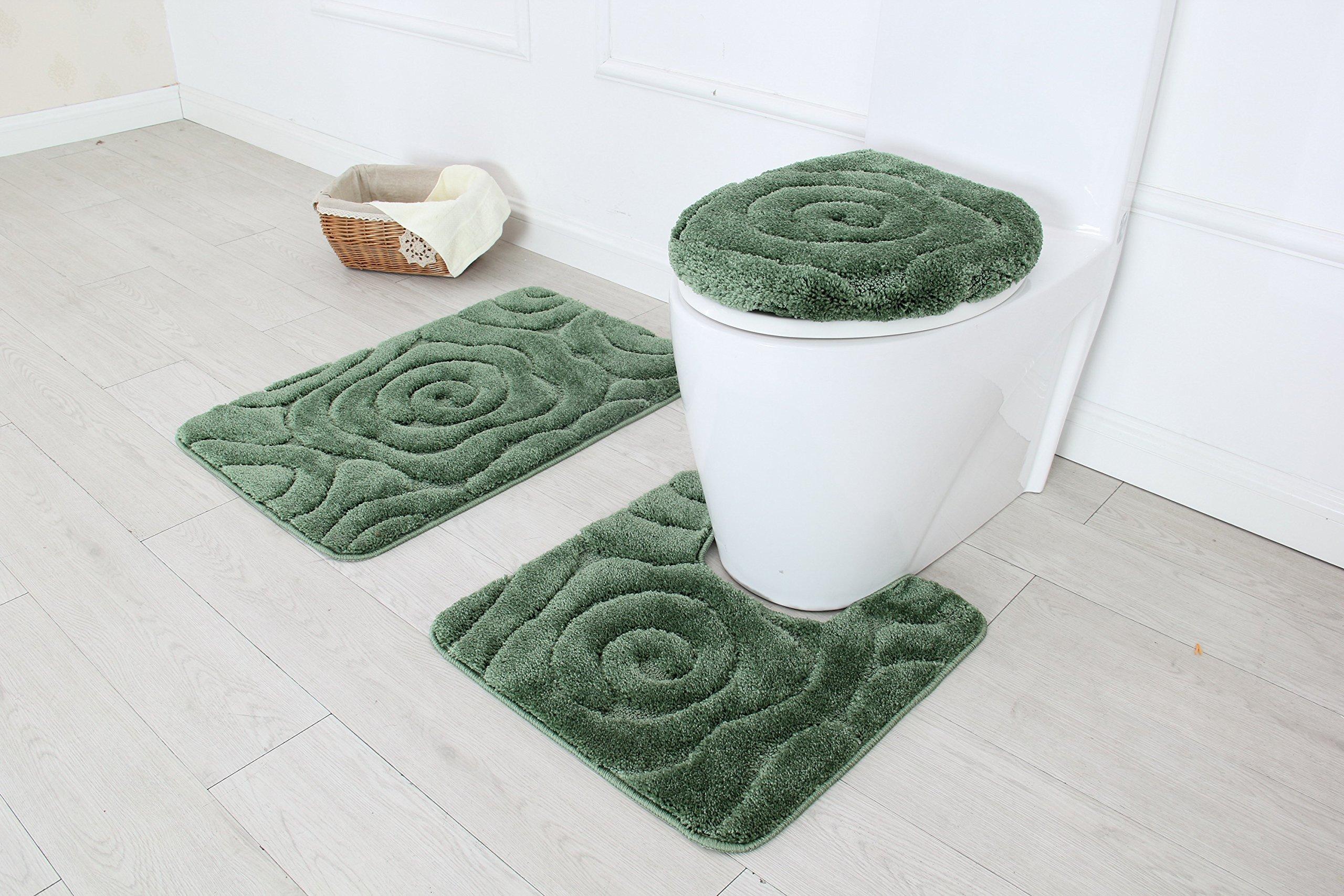 BH Home & Linen 3 Piece Luxurious Ultra Plush Prestige Bath Rug Set. Bath Rug 19.5'' x 30.5, Contour 20'' x 20. Made with 100% Polyester. (Sage)