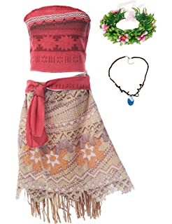 e780e8c18 MUABABY Moana Girls Adventure Outfit Costume Skirt Set with Necklace with  Headband