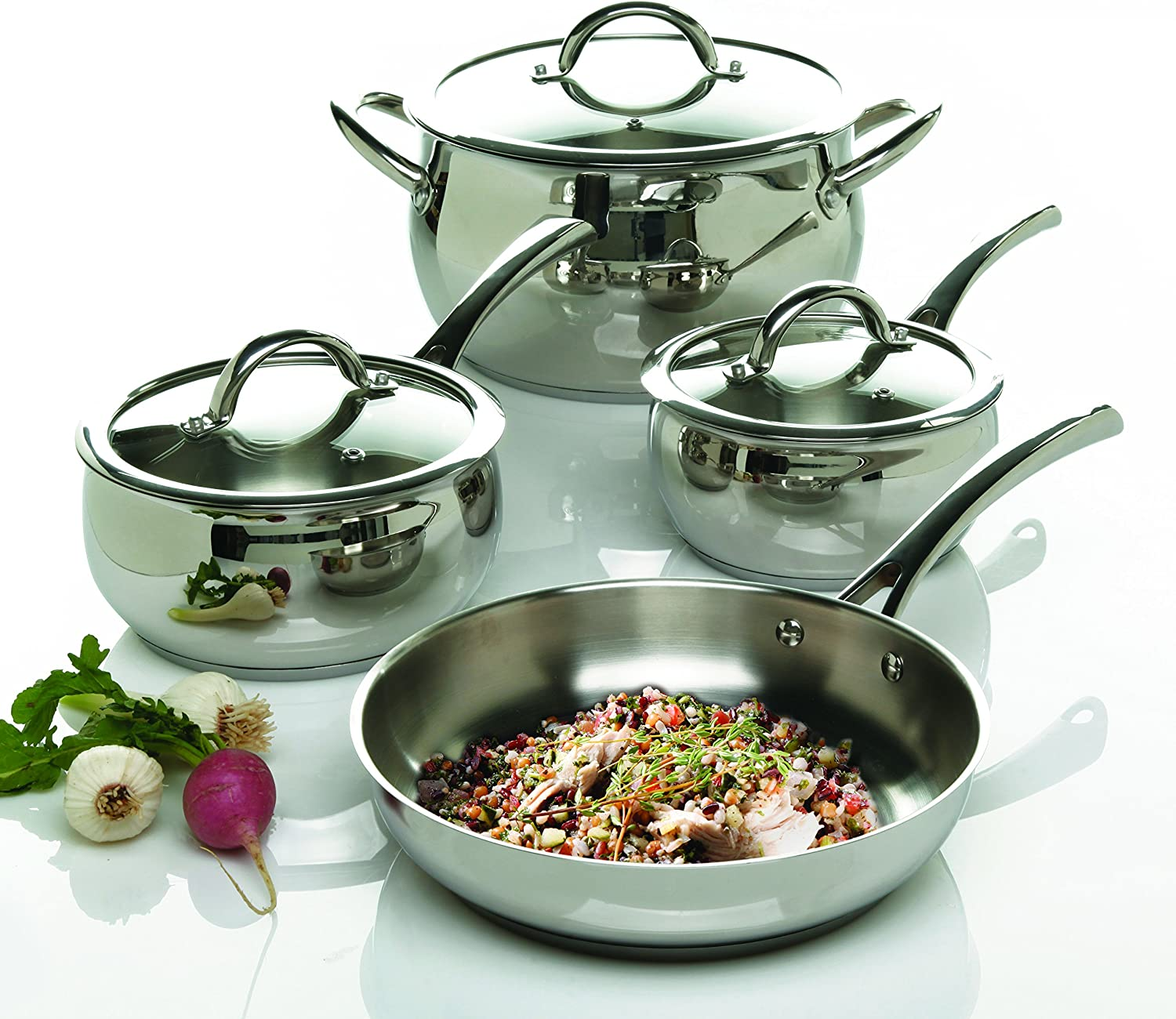 Silver Oster Cuisine 89464.01 Derrick 9.5 Inch Stainless Steel Frying Pan