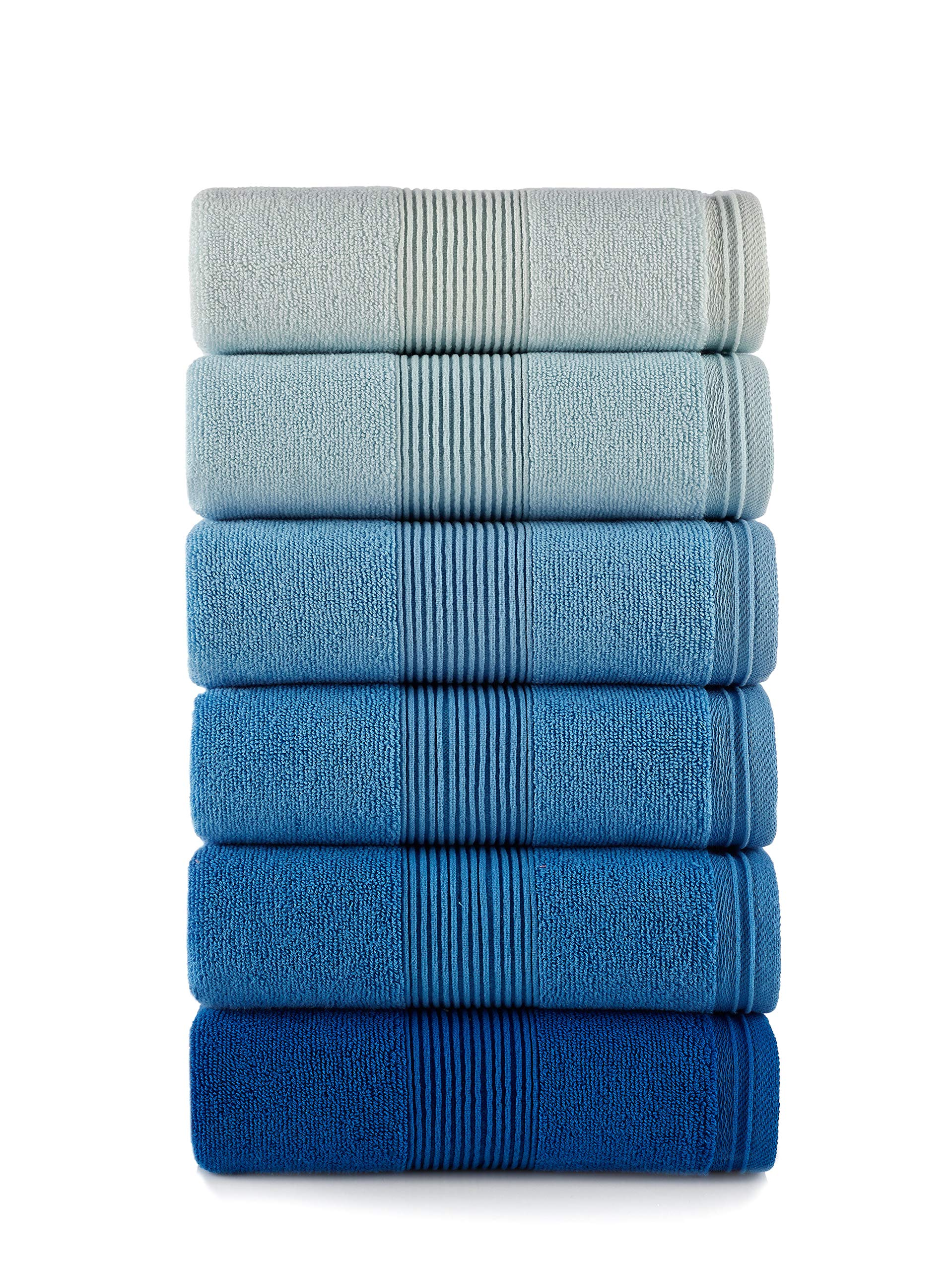 Astrea Textiles Hand Towels Set of 6 100% Cotton for Bathroom Hotel Spa Made from Turkish Cotton (Blue, 6)