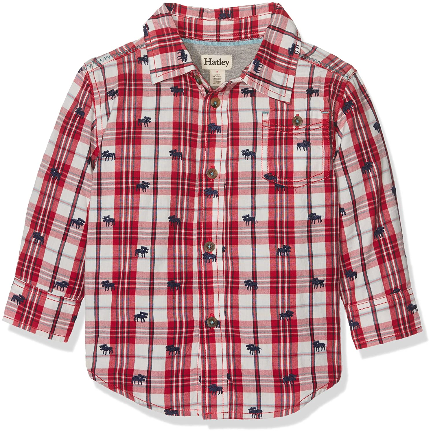 Hatley Boy's Plaid Button Down Shirt, Red (Moose Herd), 6 Years TS2WIMO135