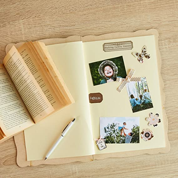 Scrapbooking Supplies Travel Scrapbook Album with Tree Hollow Cutout Great for DIY Photo Album Graduation Wood Scrapbook Wedding Baby Journal 9 x 13 x 0.4 Inches 20 Pages