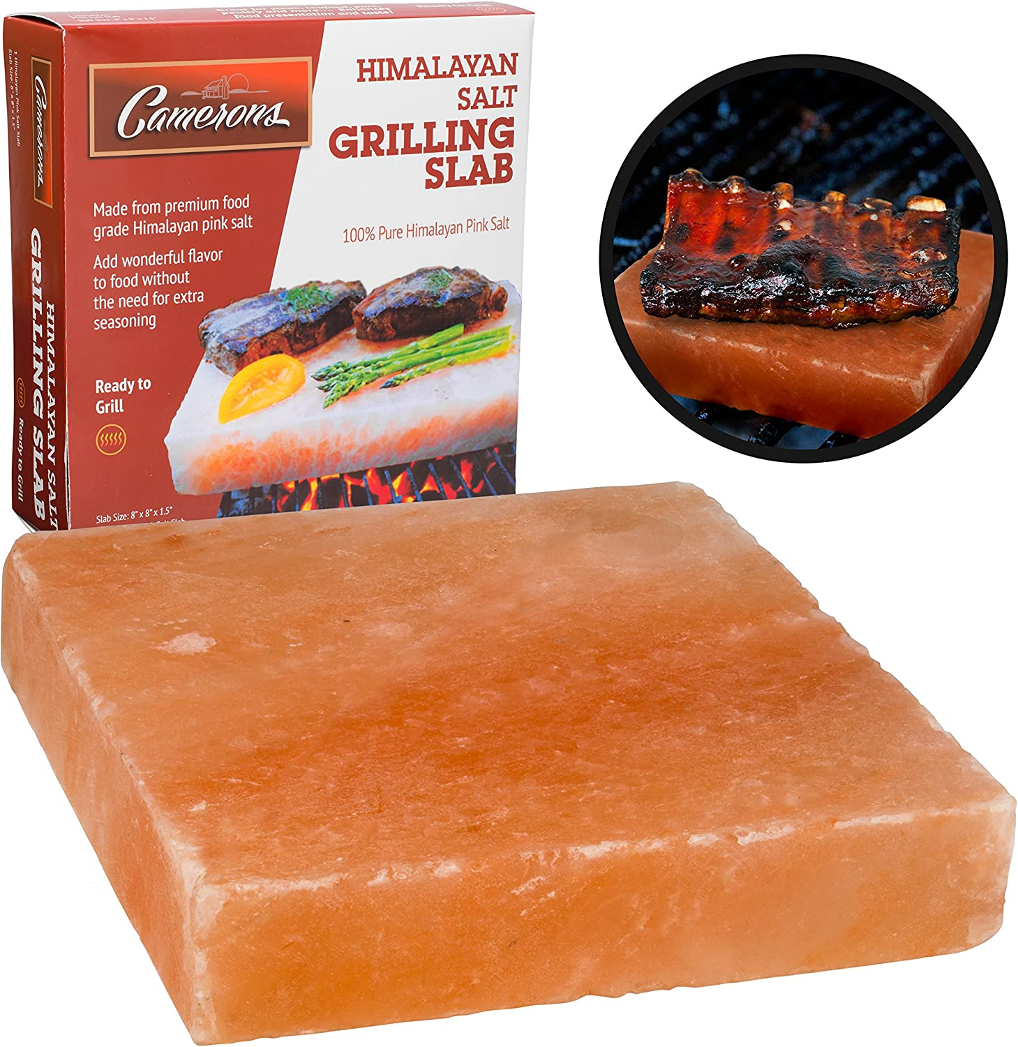 """Himalayan Pink Salt Slab Block for BBQ Grilling (Large 8"""" x 8"""")- FDA Approved Barbecue Cooking Grilling Stone Plate- Pure, All Natural (Packaging May Vary)"""
