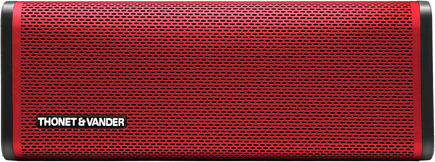 Thonet and Vander Frei Portable Bluetooth Speaker (Red) Wireless with Enhanced Bass (50 Peak Watts) Impact + Water Resistant/IPX-4 Shockproof - Rechargeable 8Hr Battery (German Engineered)