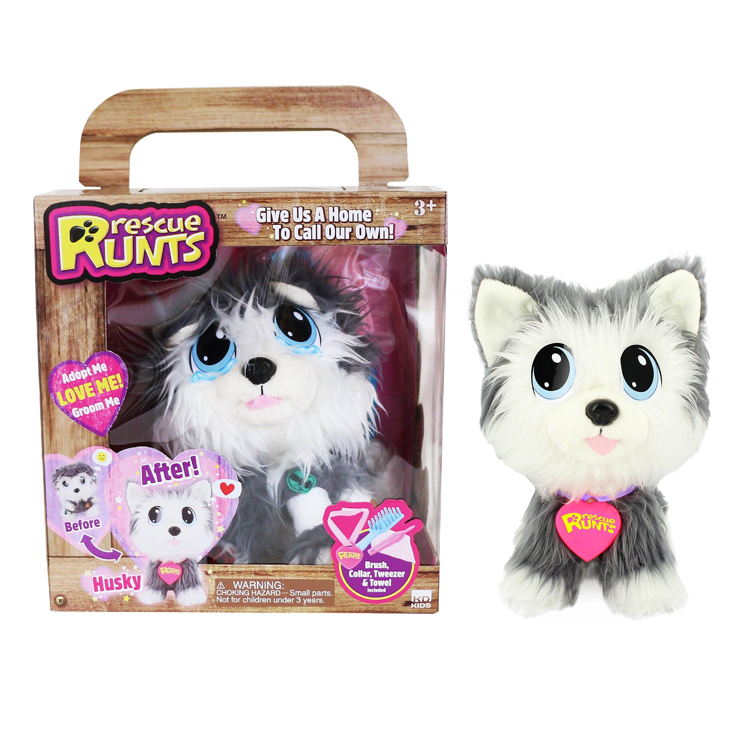 KD Kids Husky Plush Dog, White/Gray