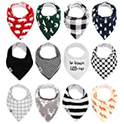 Baby Bandana Drool Bibs for Boys & Girls 12 Pack Forest Friends Set  by Mumby