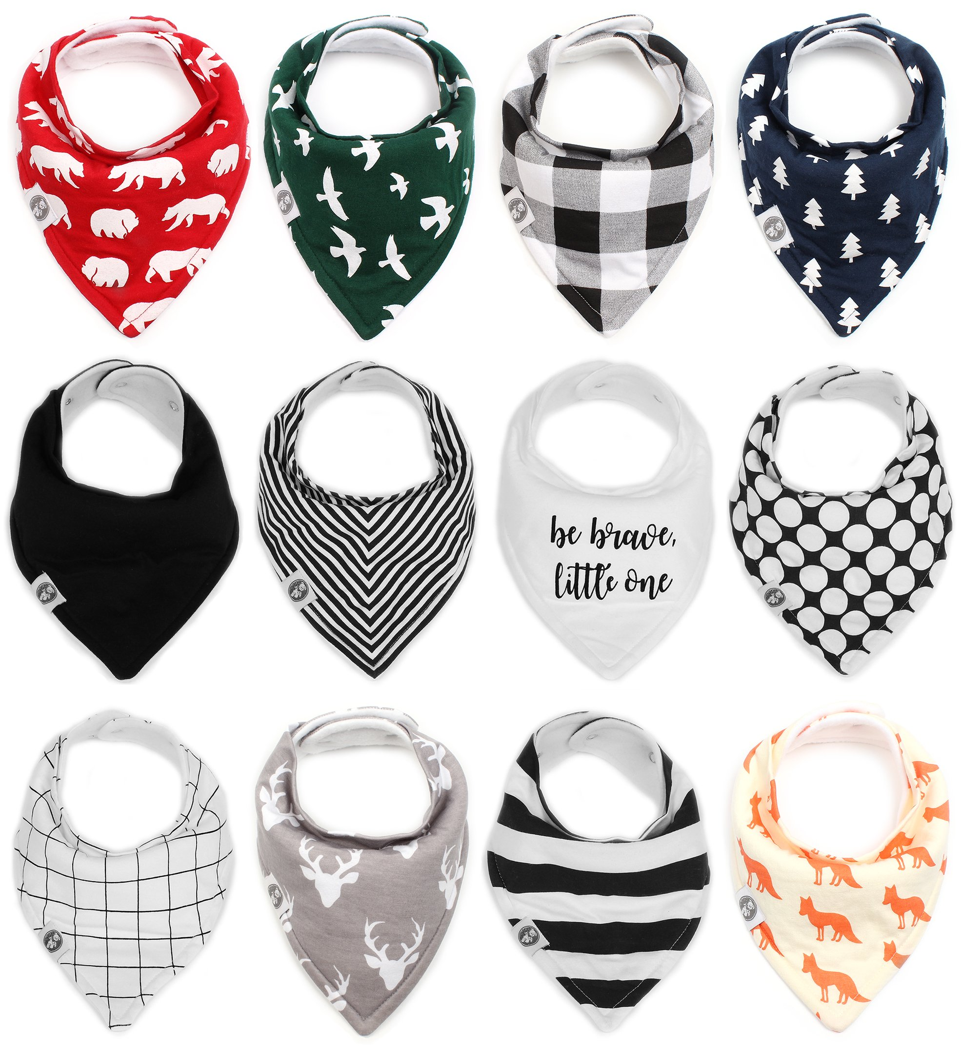 Baby Bandana Drool Bibs for Boys & Girls 12 Pack''Forest Friends Set'' by Mumby