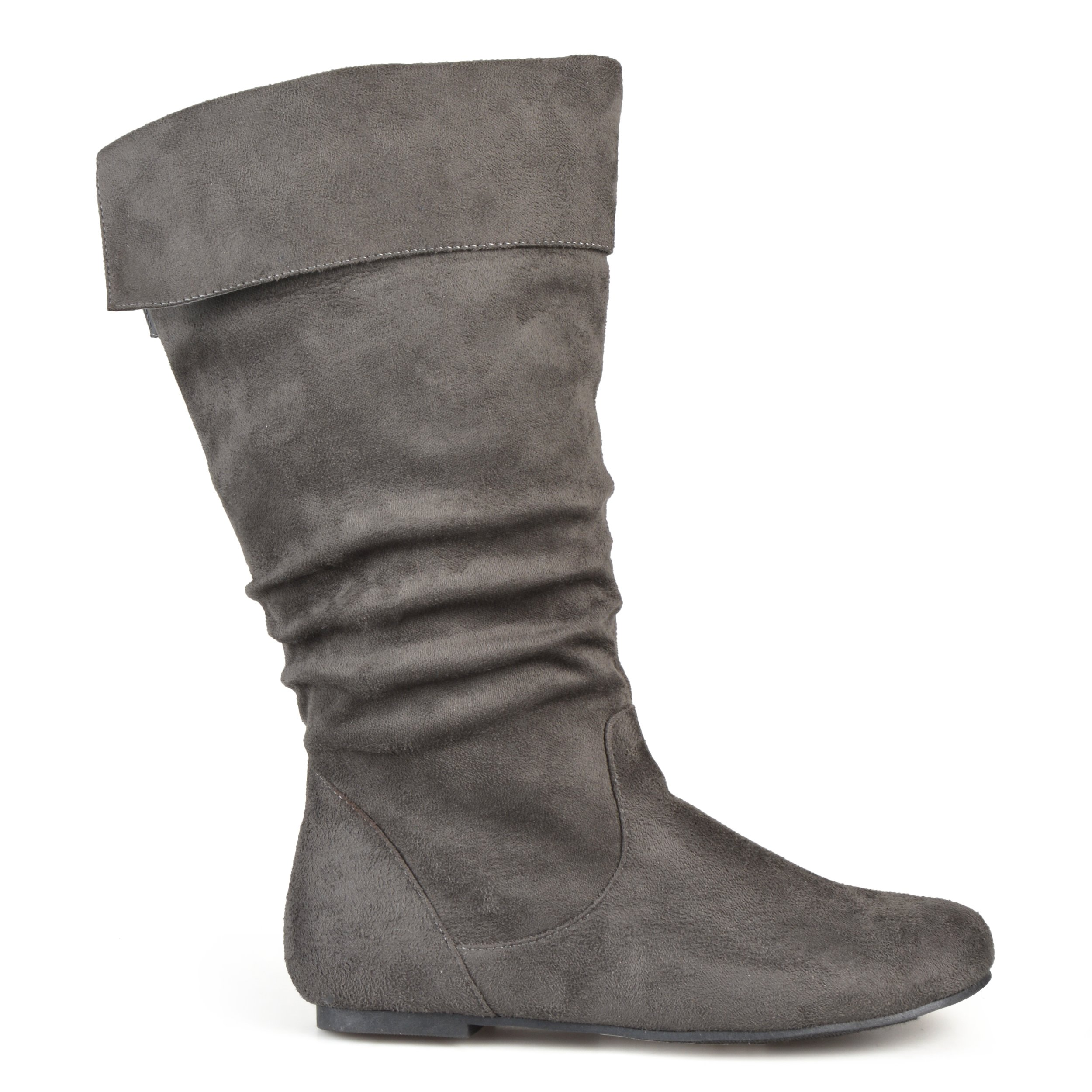 Brinley Co. Womens Regular Size and Wide-Calf Microsuede Slouch Mid-Calf Boot Grey, 9 Wide Calf US