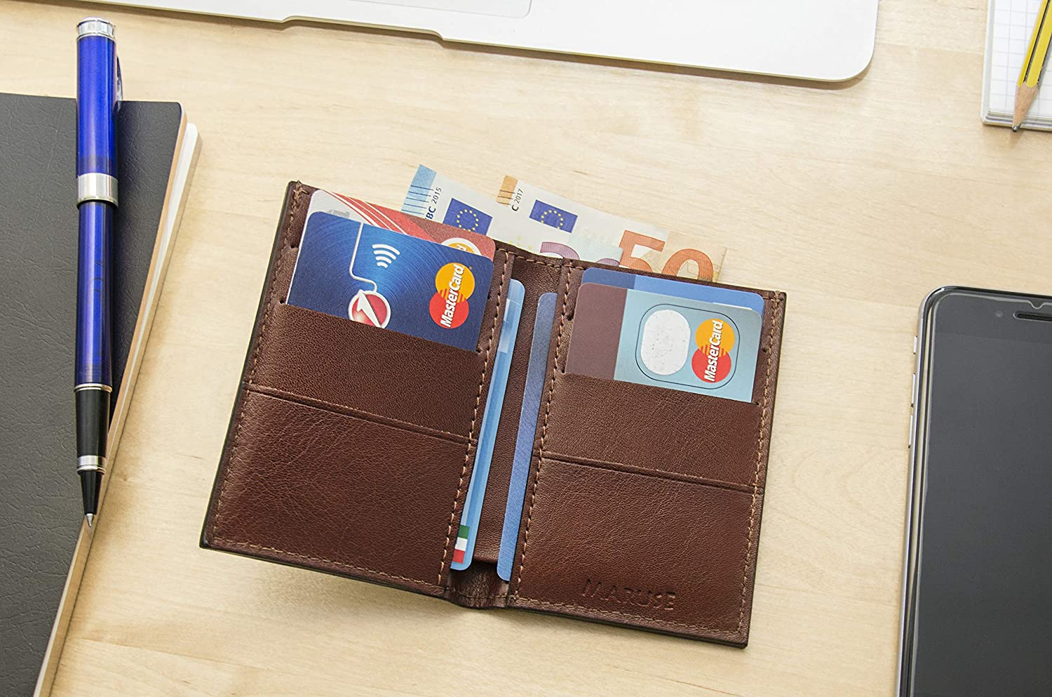 Maruse Slim Leather Wallet cards and bills Handmade in Italy