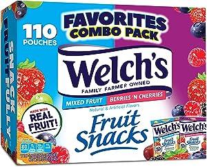 Welch's Fruit Snacks, Mixed Fruit & Berries 'n Cherries Bulk Variety Pack, Gluten Free, 0.9 oz Individual Single Serve Bags (Pack of 110)