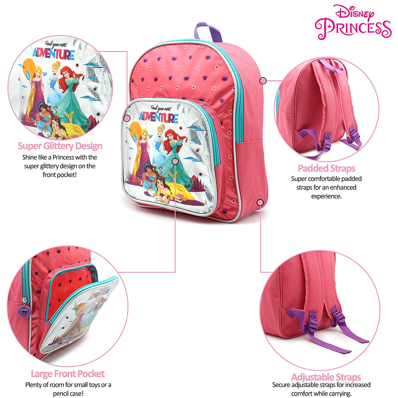 674e1ac5e5 Zainetto Asilo Bimba Principesse Disney Zainetti Bambina con Cenerentola  Belle Ariel Jasmine Rapunzel: Amazon.it: Valigeria