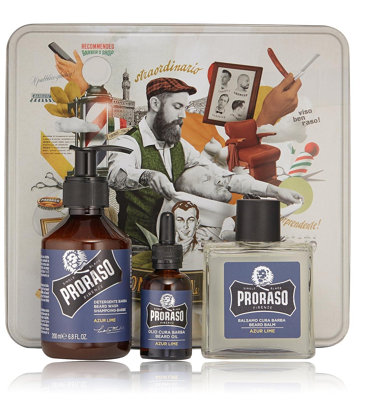 PRORASO Oil Shampoo Balm Beard Set, Azur Lime 400691