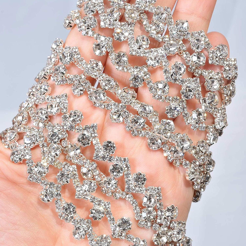 1 Yard Thin Rhinestone Crystal Sash Appliques Clear und Bling Stone Trims Addition für Wedding Dress Strap Prom Sashes Bridal Garter