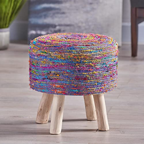 Reviewed: Christopher Knight Home Chiloquin Handcrafted Boho Silk Swirl Ottoman Stool
