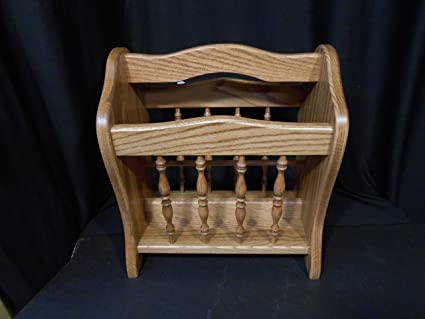 Magazine Newspaper Rack Solid Oak Wood Furniture House Amish Provincial  Stain