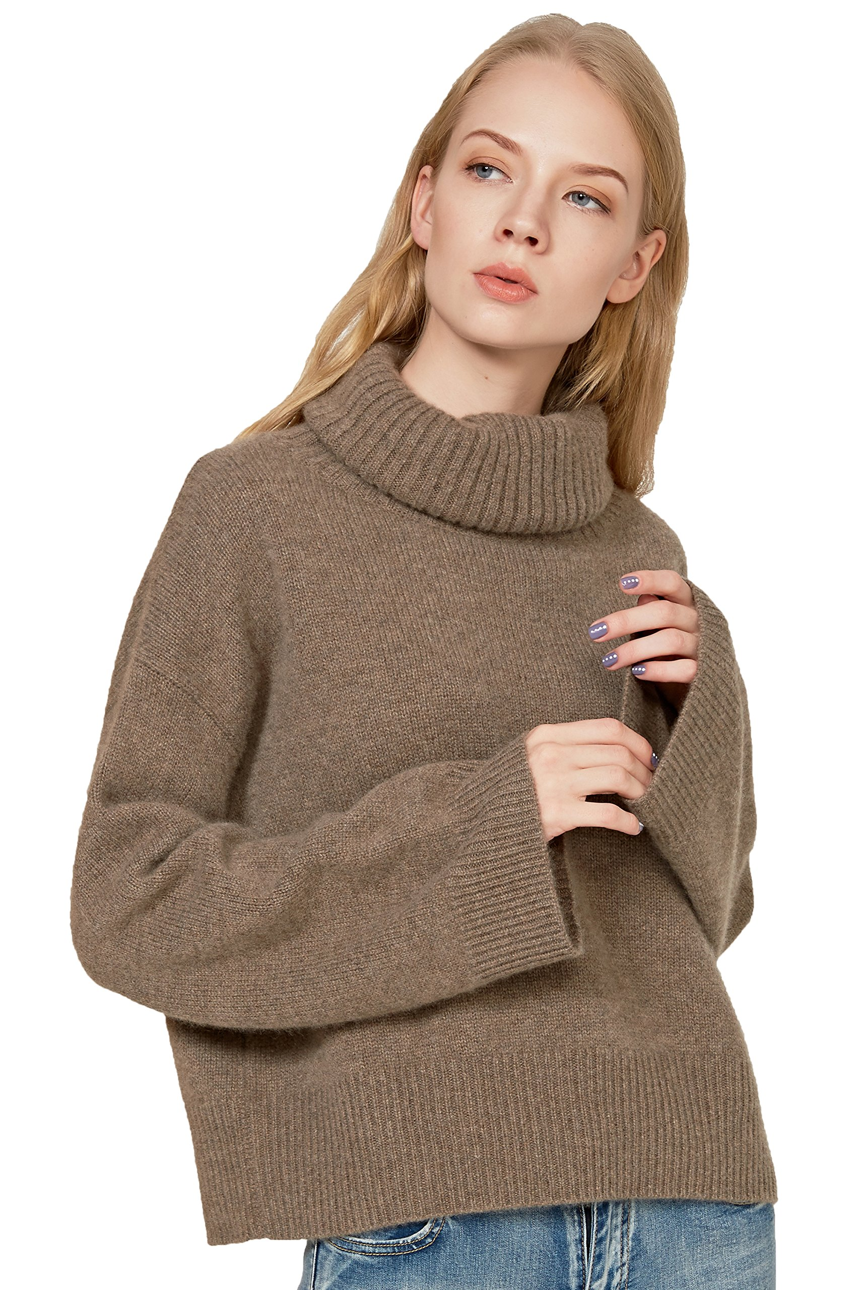 Chesslyre Camel 100 Cashmere Sweater Women,Tan Relaxed Fit High Neck Sweaters for Women Roll-neck Ladies Cashmere Sweaters