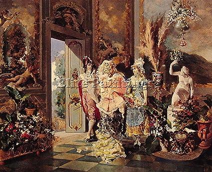 Rococo Manners Artiste Tableau Reproduction Huile Sur Toile Peinture A La Main 50x60cm Qualite Musee Amazon Fr Cuisine Maison