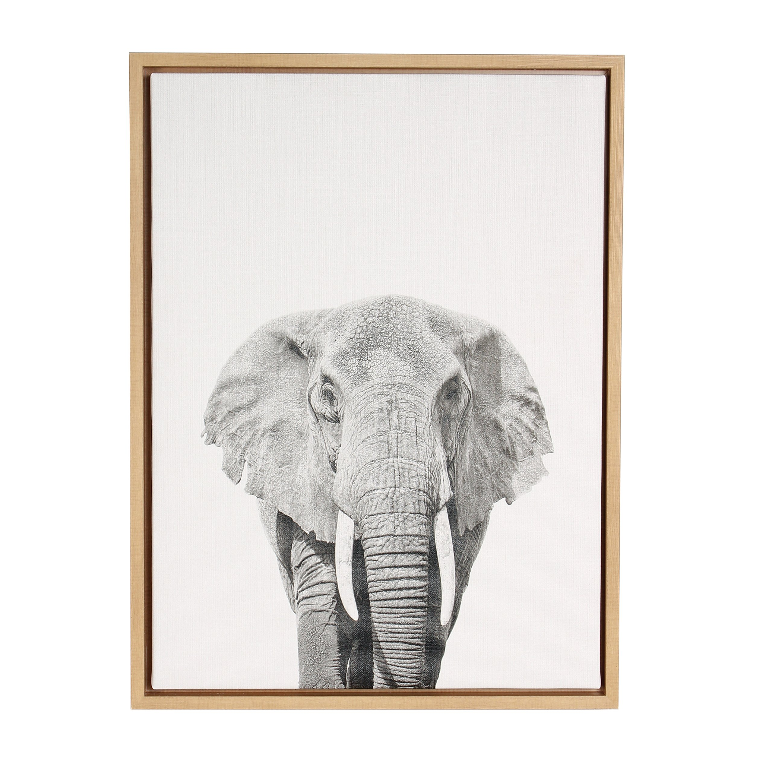 Kate and Laurel Sylvie Elephant Black and White Portrait Natural Framed Canvas Wall Art by Simon Te Tai