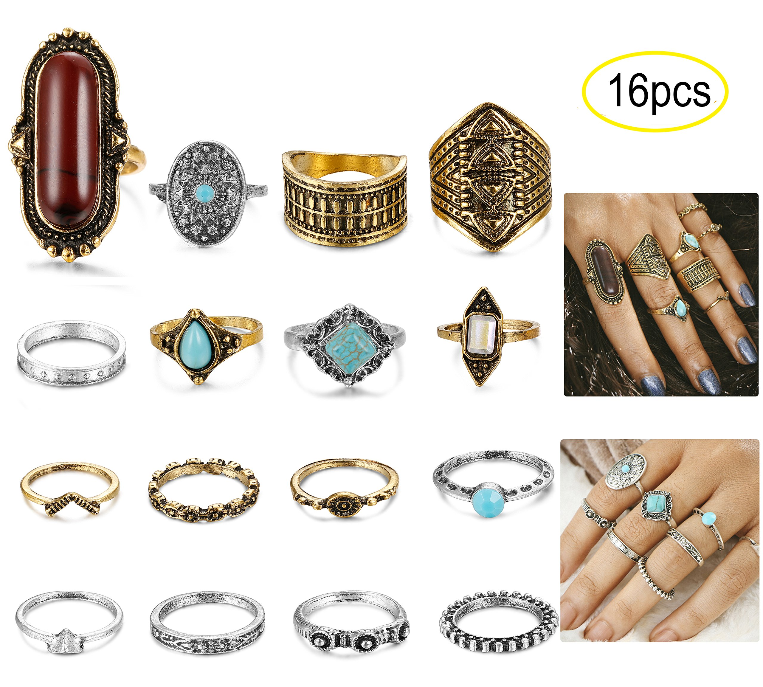 LOYALLOOK 16-18PCS Bohemian Vintage Knuckle Ring Set for Women Girls Stackable Rings Finger Toe Rings Set 16pcs