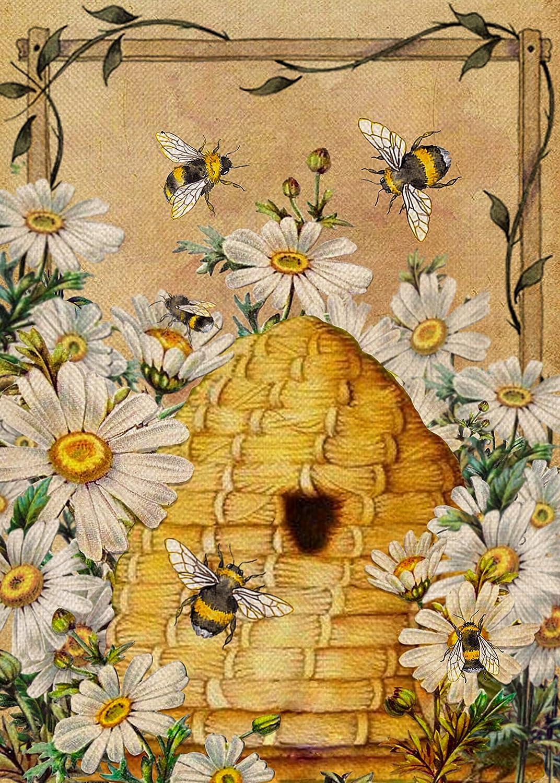 Furiaz Daisy Bee Spring Summer Garden Flag, House Yard Lawn Decorative Small Flag Honeycomb Flower Home Outside Decoration Sign, Seasonal Farmhouse Burlap Outdoor Welcome Decor Flag Double Sided 12x18